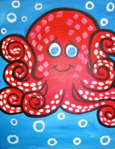 Octopus Fun - Wine & Canvas (but with more room for the arms)