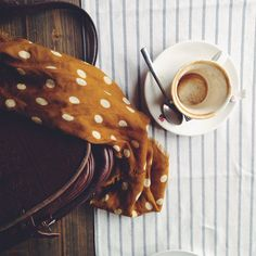 rusticmeetsvintage:  Polka dot coffee. by Lavinia Cernau on Flickr.