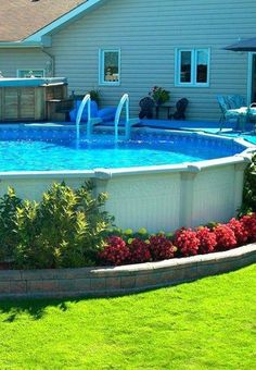Brilliant Swimming Pool Landscaping Ideas You Never Seen Before - Do you have a pool in your backyard? Whether it is an above ground pool, an on-ground pool or an in-ground pool, there's no need for it to dominate th. Swimming Pool Landscaping, Above Ground Swimming Pools, Swimming Pools Backyard, Swimming Pool Designs, In Ground Pools, Landscaping Ideas, Landscaping Shrubs, Indoor Pools, Oberirdische Pools