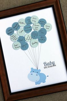 Baby Shower Guest Print Hippo Boy