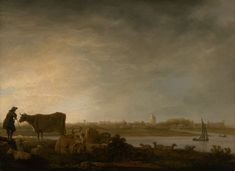 """""""A View of Vianen with a Herdsman and Cattle by a River,"""" Aelbert Cuyp, c. 1643-45. (Dutch, 1621–1691)"""