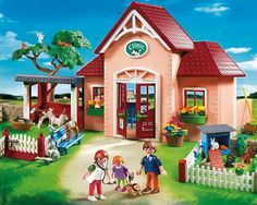 Amazon.com: PLAYMOBIL Vet Clinic Play Set and Outdoor Care Station Building Kit: Toys & Games