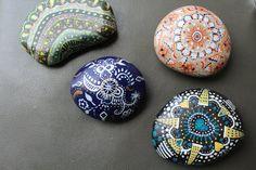 Set of 4, Hand painted rocks, yard art, original, desk top decor, garden art, stone, rocks, hand painted, acrylic