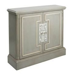 The Pulaski Chest adds an elegant touch to your home décor. With plenty of storage, this grey cabinet is outlined with beautiful white geometric molding with raised fluting and has silver scroll details surrounding the silver hardware pulls. Modern Drawers, Contemporary Cabinets, Hardware Pulls, Accent Chest, Cabinet Furniture, Painted Furniture, Furniture Design, Grey Cabinets, Trendy Home