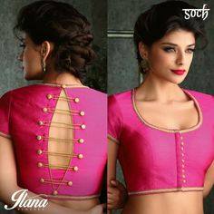 Blouse back neck designs are everything when it comes to picking a good blouse. Here are 40 latest blouse back neck designs that will inspire you to stitch the best blouse for your big day! Saree Jacket Designs, Choli Blouse Design, Sari Blouse Designs, Designer Blouse Patterns, Designer Saree Blouses, Saree Blouse Patterns, Blouse Styles, Pattern Blouses For Sarees, Silk Blouses