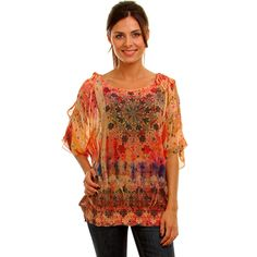 @Overstock.com - Light and airy, but boldly printed, this orange chiffon tunic top from Lyssa Loo is styled with elbow-length flutter sleeves and tied shoulders. A wide boat neck and long hemline finish the demure look of this beautiful plus-size blouse.http://www.overstock.com/Clothing-Shoes/Lyssa-Loo-Womens-Plus-Orange-Printed-Chiffon-Top/7184002/product.html?CID=214117 $24.99