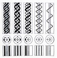 Interesting pattern ideas for glass cane.                                                                                                                                                                                 More
