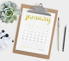Calendario de 2016 escrito con acuarelas