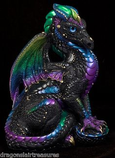 Windstone Editions Limited Production Black Violet Peacock Father Dragon | eBay