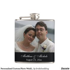 Personalized Custom Photo Wedding Flask Bridal Shower Gifts For Bride, Gifts For Wedding Party, Bride Gifts, Party Gifts, Personalised Hip Flask, Father Of The Bride, Wedding Color Schemes, Groomsman Gifts, Custom Photo