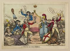 """""""A Touch of the Times"""" by Thomas Rowlandson (1788) in the Royal Collection, UK - From the curators' comments: """"A hand-coloured print showing the Prince of Wales being led to the Coronation Chair by Britannia. The steps are formed of the 'The Voice of the People' and 'Public Safety.' Leaning on the left of the chair is Fox and Sheridan holding the cap of Liberty. Pitt, on the right, extinguishes the 'puppet shew[s].'"""""""