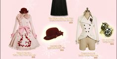 I love the coat on the right!  The cut at the bottom is very flattering for a Lolita style skirt!