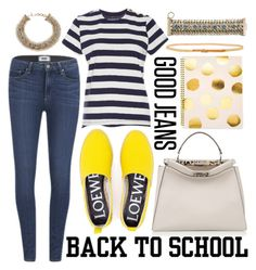 Back to School || Denim by cherieaustin on Polyvore featuring polyvore, fashion, style, MDS Stripes, Paige Denim, Loewe, Fendi, Streets Ahead, Sugar Paper, BackToSchool, denim and goodjeans