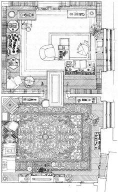 Plan de la salle de consultation et de la salle de travail de Freud à Vienne, dessin de Natalija Subotincic