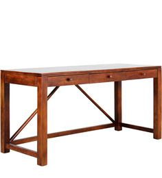 Belem Solid Wood Study & Laptop Table in Honey Oak finish by Woodsworth