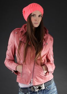 Biker Lederjacke Dusty coral: SCHYIA, Germany