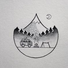 Doing some watercolor doodling tonight! #drawing #art #penandink #micron #watercolor #watercolorpainting #tattoo #design #doodle #doodling #illustration #illustree #camping #campvibes #homeiswhereyouparkit #homeiswhereyoupitchit #backpacking #westfalia #vanlife #vanlifediaries #vanagonlife #portland #oregon #pnw #upperleftusa #mthood