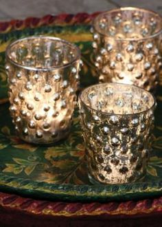 aged mercury glass cups (set of 4)