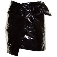 Isabel Marant Anders faux patent-leather mini skirt (12.046.905 VND) ❤ liked on Polyvore featuring skirts, mini skirts, black, bow mini skirt, mini skirt, 80s skirt, wrap front skirt and asymmetrical short skirt