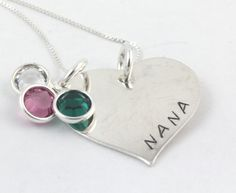 Mother's Day Gift for Mom or Grandma - Personalized Sterling Silver Birthstone Heart Necklace - Custom Hand Stamped Birth Stone Gift