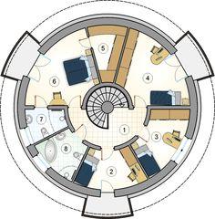 Projekt S-GL 868 Orbis - Studio Atrium- projekty domów Cob House Plans, Round House Plans, Small House Plans, House Floor Plans, Silo House, Hut House, Dome House, Yurt Home, Casa Top