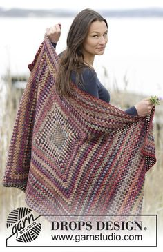 """Autumn Squares - Crochet DROPS blanket with treble groups in """"Delight"""". - Free pattern by DROPS Design"""