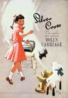 Here's a delightful illustration from a 1950s Silver Cross doll's pram brochure. They were made to the same designs and were similar in every detail to the full-size luxury baby coaches – just like our doll's prams today.