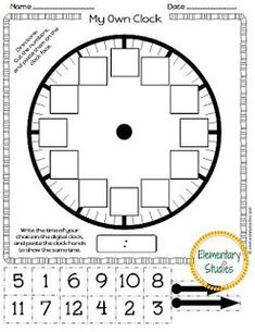 free printable build a clock telling time activity