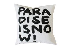 """philuko Kissenhülle """"Paradise is now"""" cm White Pillow Cases, White Cushion Covers, White Pillows, Pillow Covers, Screen Printing Materials, World View, White Fabrics, E Design, Pattern Wallpaper"""