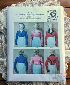 Ladies' Regency Wrapping Front Spencer (Jacket) c.1798-1809 The popular short jacket of the Regency era! Pattern gives you 4 collar options & 3 back variations