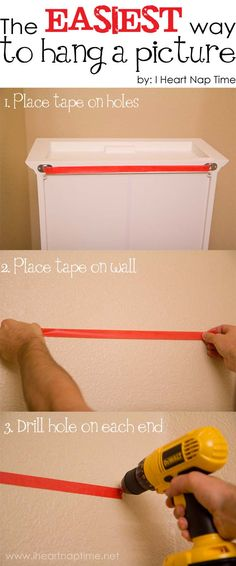 household tips to make your life easier! The easiest way to hang a picture! Why didn't I think of this? Pin now, read later!The easiest way to hang a picture! Why didn't I think of this? Pin now, read later! Home Decor Hacks, Diy Home Decor, Decor Ideas, Craft Ideas, Diy Ideas, Creative Ideas, Do It Yourself Inspiration, Ideias Diy, Tips & Tricks