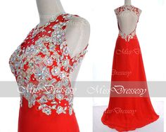 Red Lace Prom Dresses, 2014 Prom Gown, Straps with Open Back Lace Chiffon Long Red Prom Dresses, Red Fomal Gown, Evening Dresses on Etsy, $184.82 CAD