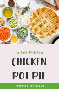 This lovely Chicken Pot Pie is 7 SmartPoints per HUGE portion on Weight Watchers Blue Ww Recipes, Fish Recipes, Lunch Recipes, Chicken Recipes, Weight Watchers Pasta, Weight Watcher Dinners, Friend Chicken Recipe, Pie Tops, Thing 1