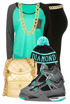 "Gold Chain Men Outfit Aqua/Gray T-Shirt, Gold Chain/Bag, Black Tights, Diamond Supply Co. Beanie, Jordans - ""Shop the latest Cheap Dope Outfits, Swag Outfits, Casual Outfits, Gucci Outfits, Fashionable Outfits, School Outfits, Urban Fashion, Teen Fashion, Womens Fashion"