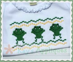 Baby Kay's Appliques - Frog Faux Smock 4x4, 7x3, 7x5, $1.00 (http://www.babykaysappliques.com/frog-faux-smock-4x4-7x3-7x5/)