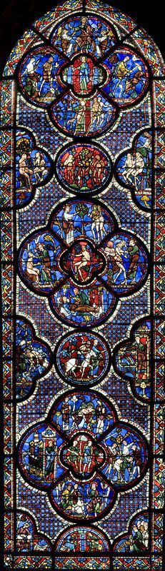 Stained glass Windows of Cathedral of Chartres, France - A UNESCO World Heritage Site.