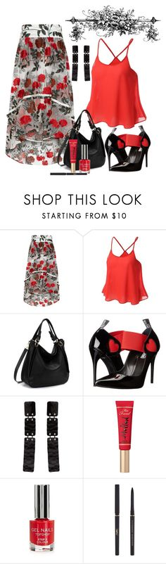 """Let's Skirt Around contest"" by empathetic ❤ liked on Polyvore featuring Ganni, Love Moschino, Proenza Schouler, Too Faced Cosmetics, Topshop and Yves Saint Laurent"