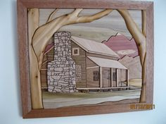Cabin on Rocky Top Intarsia hand wood carved by by RAKOWOODS, $184.00