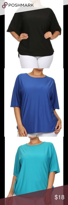 Solid color, Cape sleeve, loose fit top. Solid color, Cape sleeve, loose fit top. Check availability before buying please.  92% Polyester 8% Spandex Size1XL2XL3XL Tops Blouses