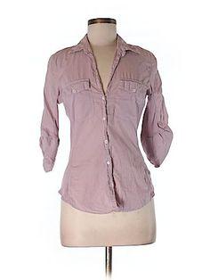 James Perse Women 3/4 Sleeve Button-Down Shirt Size Med (2)