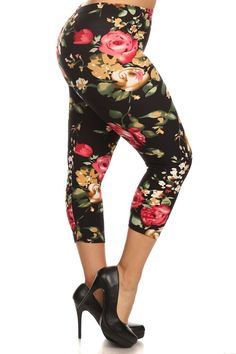 Plus size floral capri leggings  www.legsmart.ca