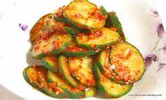 Seasoned Cucumber, Oi-muchim | Ingredients: 1  Cucumber 오이, ½  Green Onion 파, 1 tsp Garlic (minced) 다진 마늘, 1 tsp Vinegar 식초, 1 tsp Salt 소금, ½ tsp Sesame Seeds 깨, ½ tsp Sesame Oil 참기름, 1 tsp Sugar 설탕, 1 tbs Gochugaru, Red Chili Flakes 고추가루