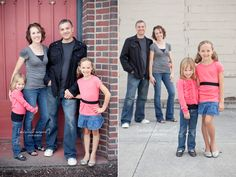 Family portraits - parents in neutrals, kids pop in flattering color.  Different styles and individual accessories let each child's character show.  Play with different styles and layers when wearing the same or similar colors.