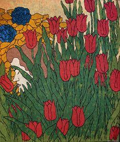 Rippl-Rónai József: Női fej virágokkal, 1898. gyapjú, vászonhímzés, 60x60 cm,