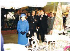 The Queen and Prince Phillip amire aluminium garden furniture.