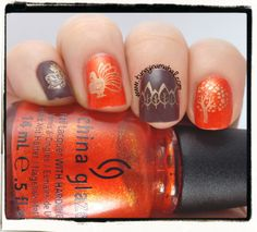 My Thanksgiving nails for the week. China Glaze Riveting, L.A. Girl DIY in dark brown, stamped with Maybelline Metallics Bold Gold. (Winstonia Store stamp plate W119 for my pinkie & ring finger. Messy Mansion MM19 for my middle and pointer finger).