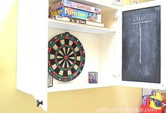 DIY Dartboard Cabinet made from old Kitchen Cupboard