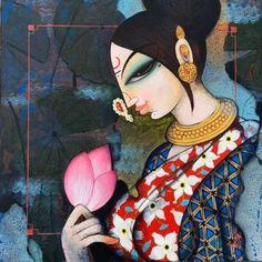 Indian Art Paintings, Modern Art Paintings, Original Paintings, Modern Indian Art, Indian Folk Art, Madhubani Art, Madhubani Painting, Folk Art Flowers, Lotus Art