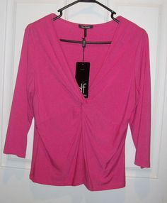 Daisy Fuentes Jr Misses Petite sz Large Pink 3/4 sleeve knot top shirt NWT #DaisyFuentes #Tunic #Casual