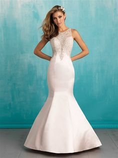 Allure Style: 9312 Sexy satin trumpet style wedding gown with beaded illusion neckline and side detail